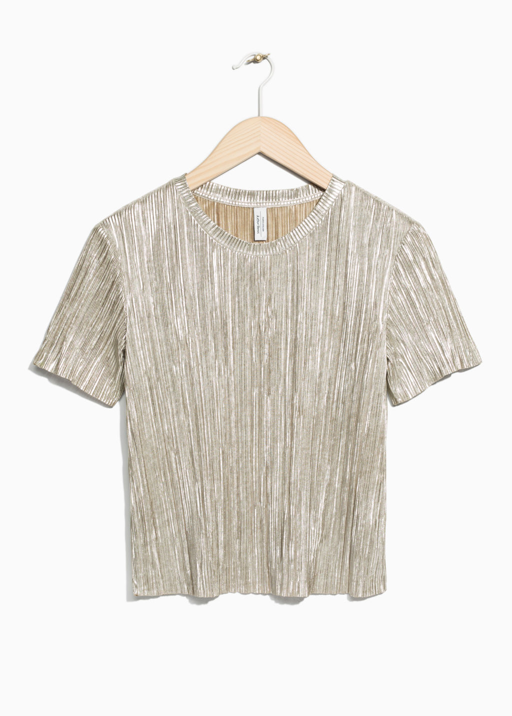 Front image of Stories metallic sheen top in gold