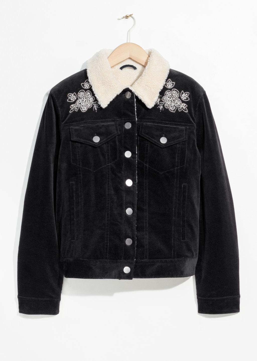 Front image of Stories corduroy jacket  in black