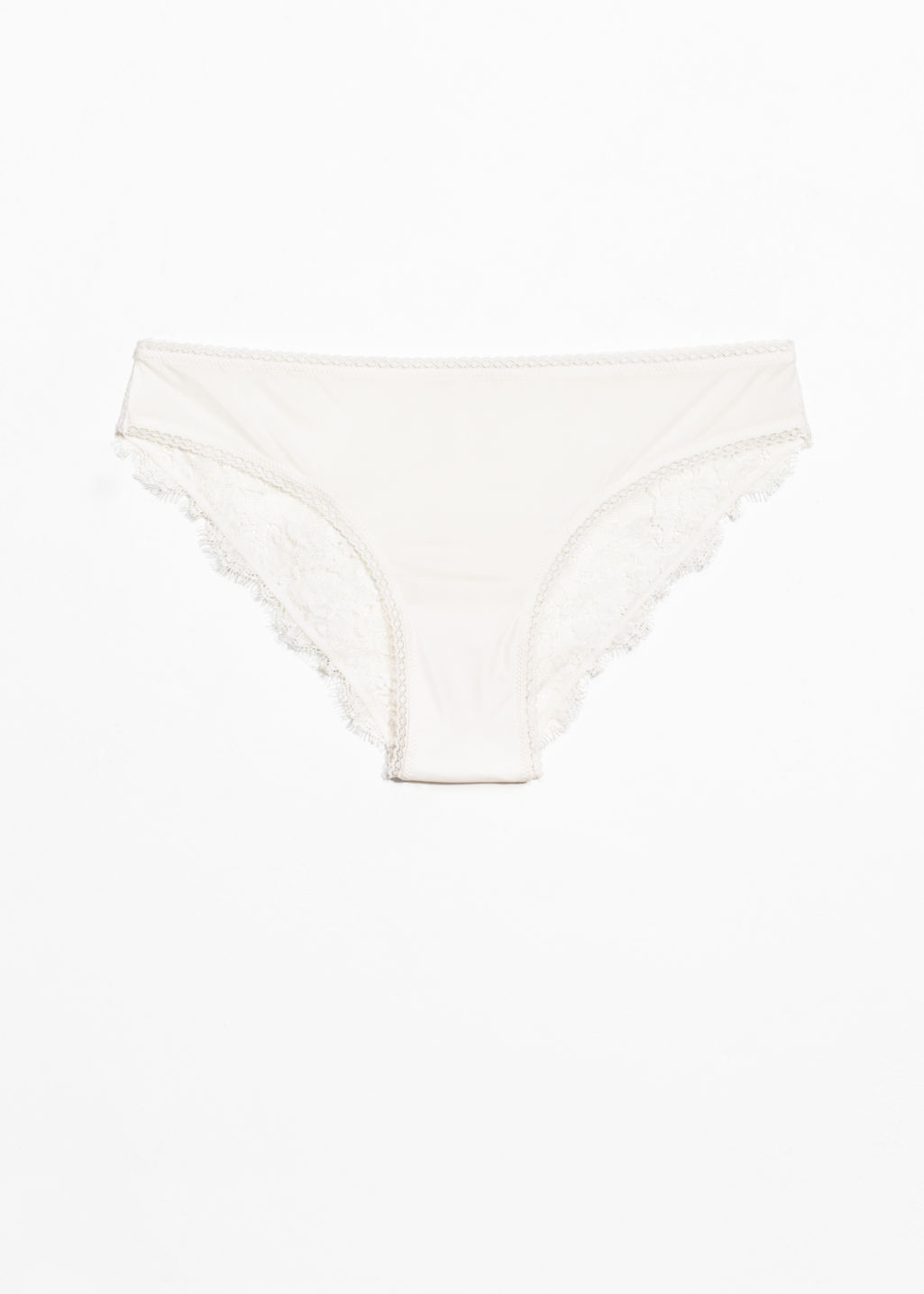 Front image of Stories lace briefs in white