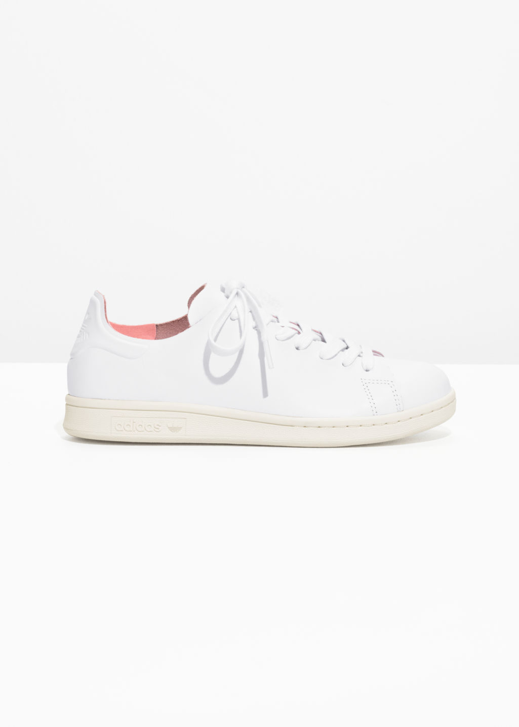 Front image of Stories adidas stan smith nude in white