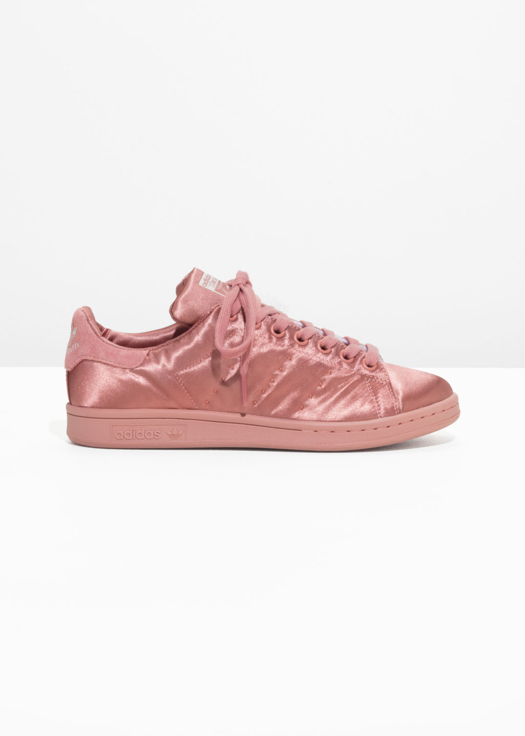 Front image of Stories stan smith satin  in red