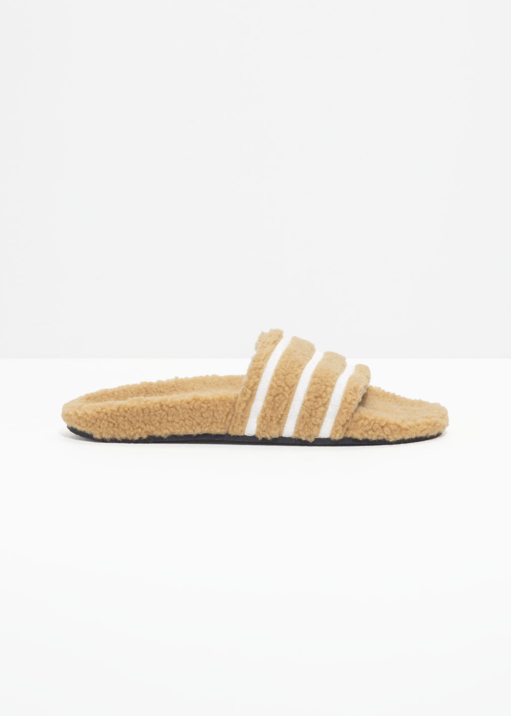 Front image of Stories adidas adilette slides in beige