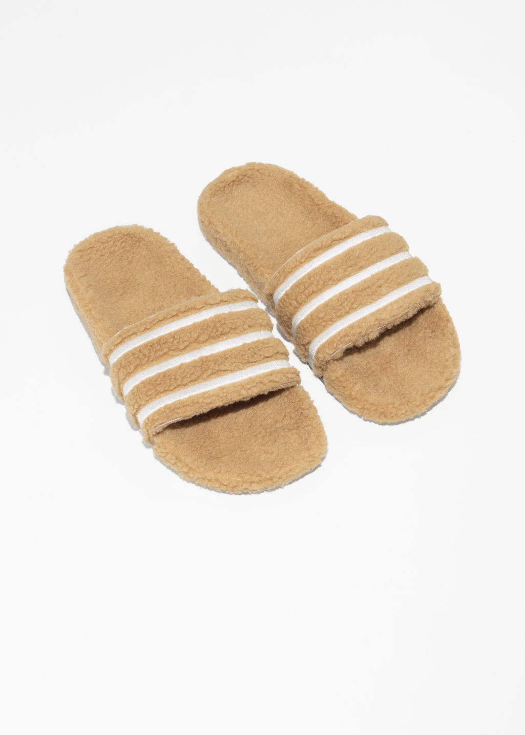 Back image of Stories adidas adilette slides in beige