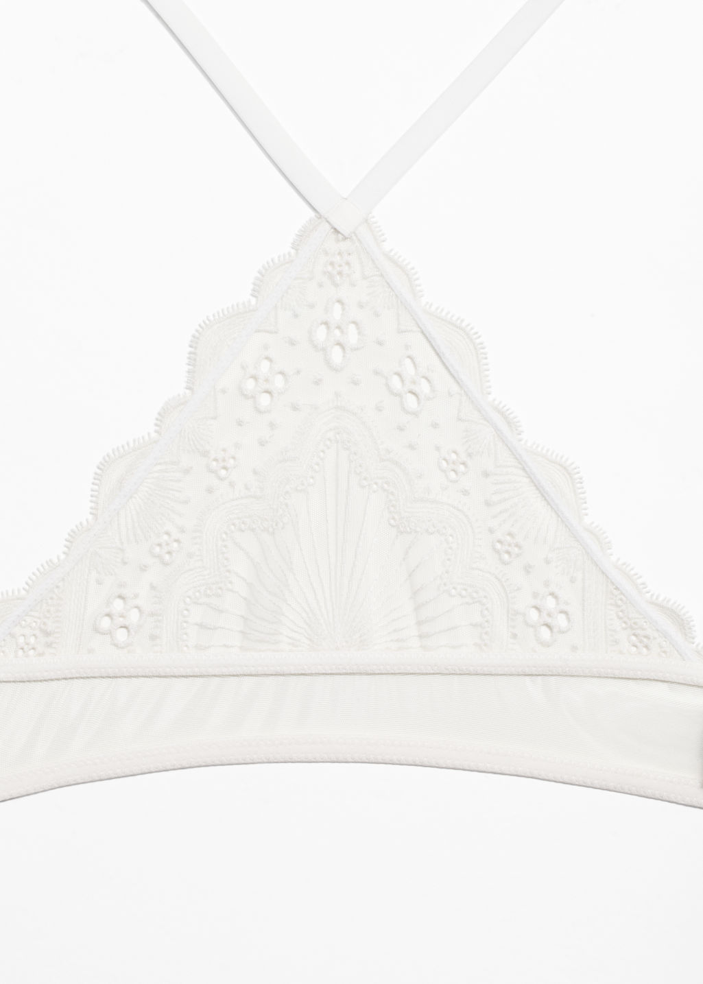 Back image of Stories embroidery soft bra in white