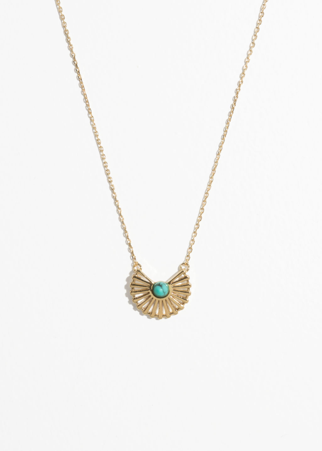 Front image of Stories sun fan necklace in turquoise