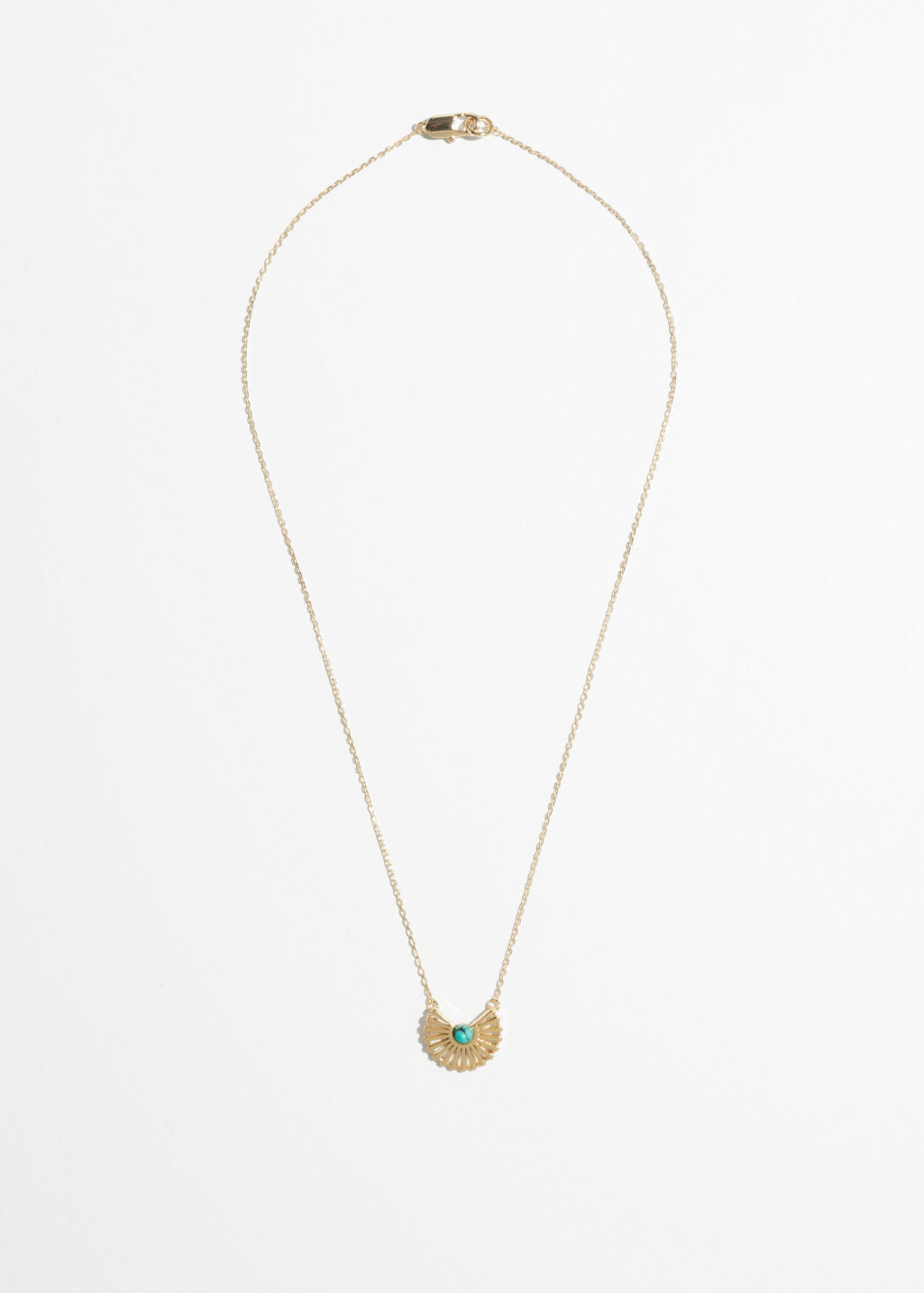 Back image of Stories sun fan necklace in turquoise