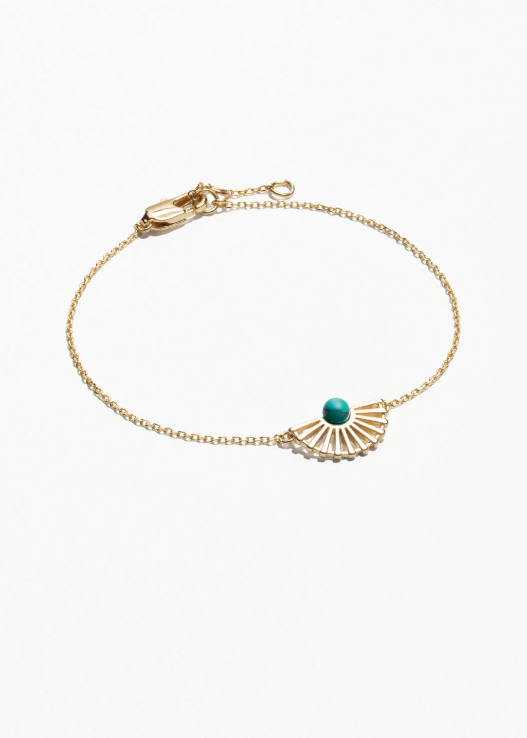 Front image of Stories sun fan bracelet in turquoise