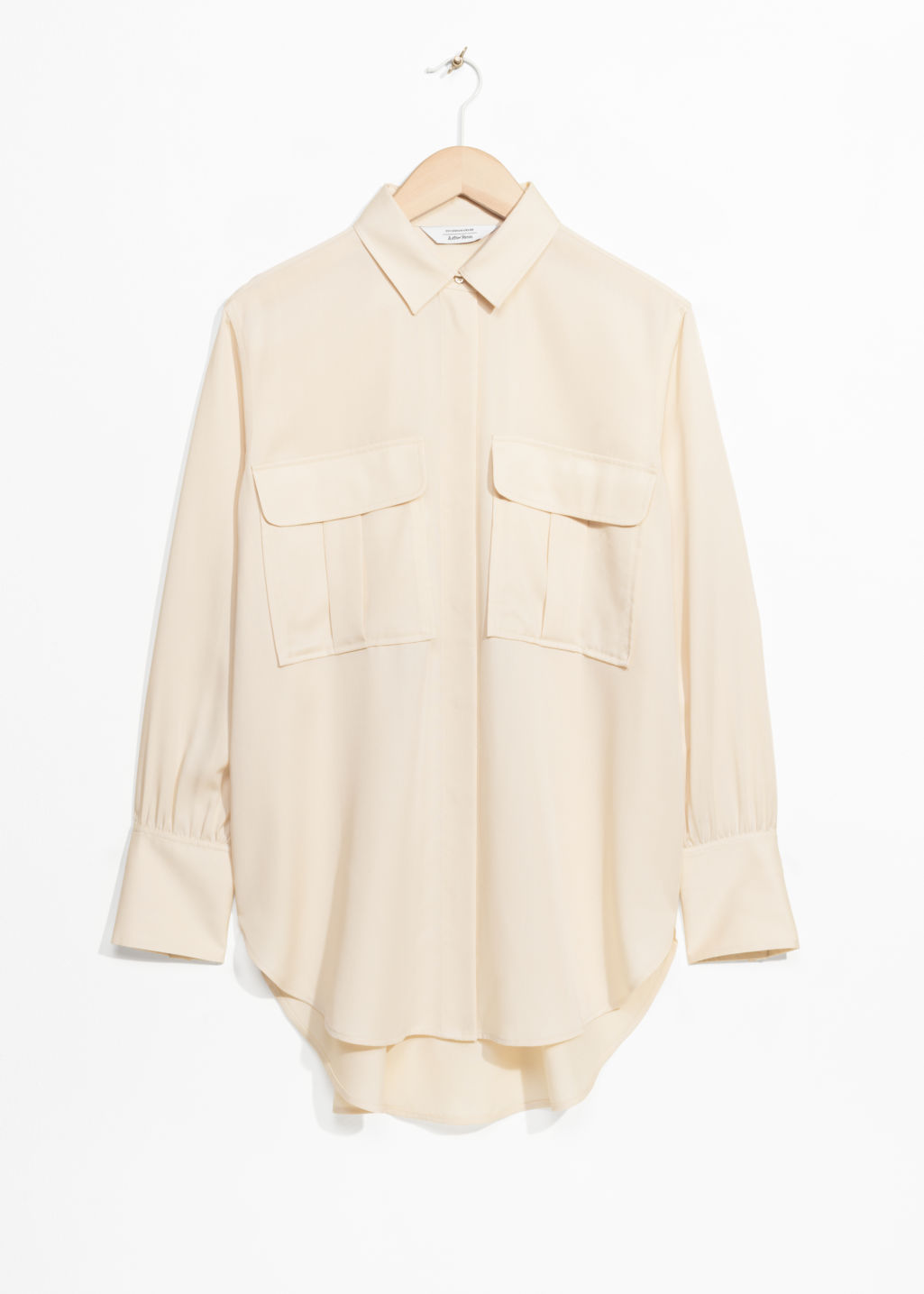 Front image of Stories pocket shirt in beige