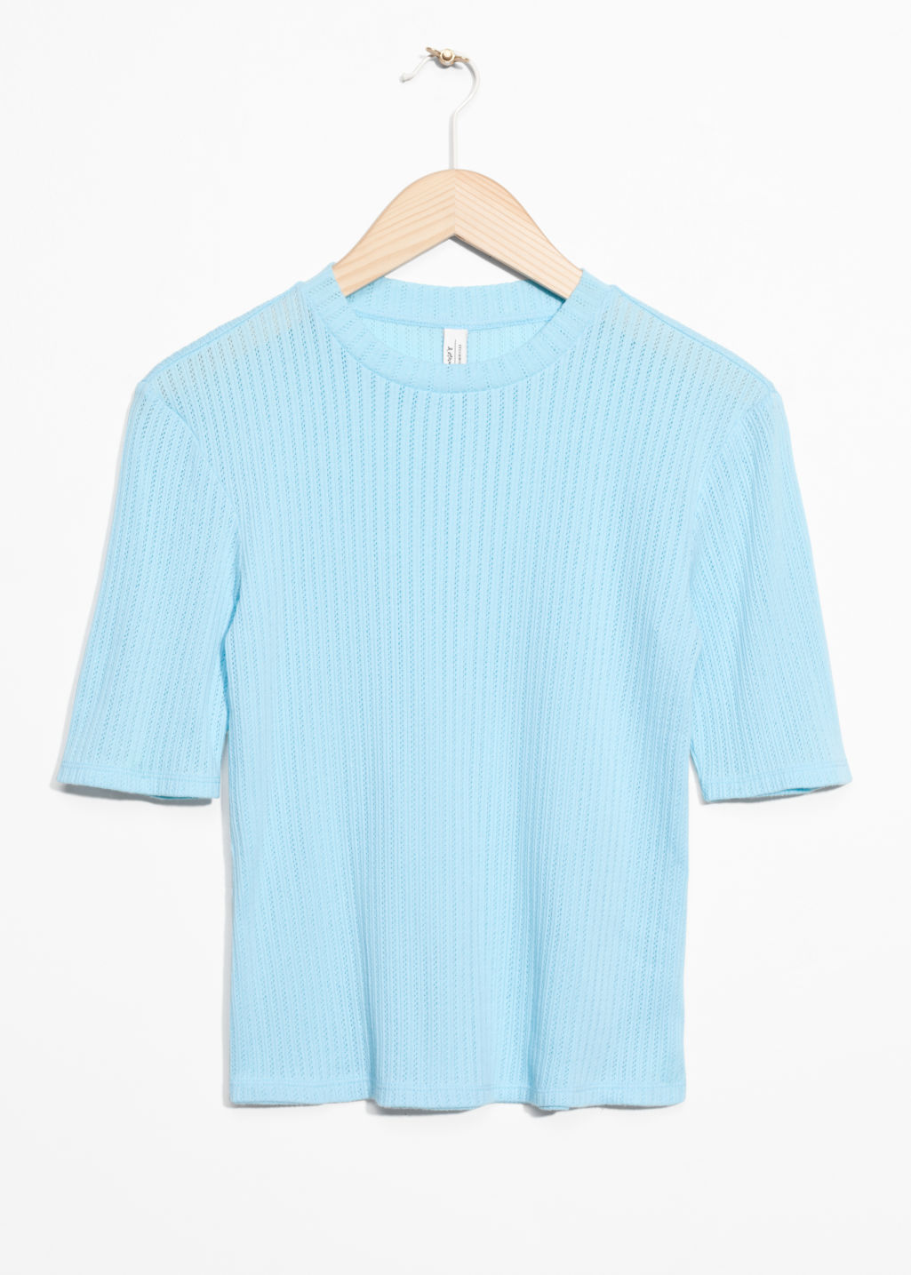 Front image of Stories ribbed top in turquoise