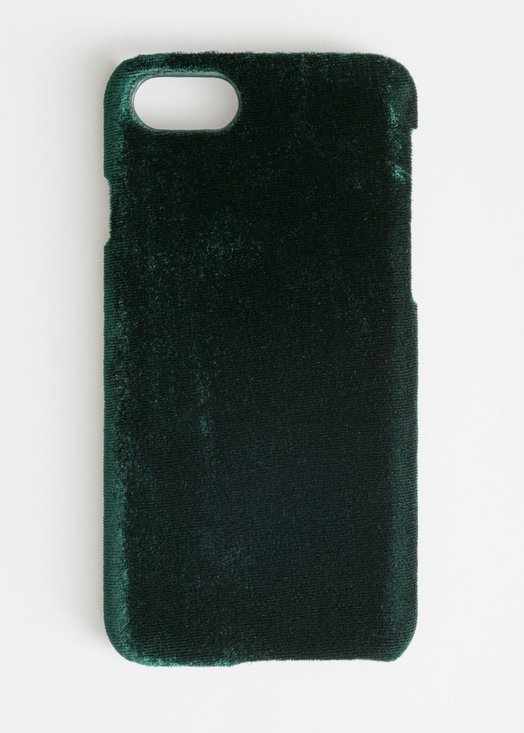 Front image of Stories velvet iphone case in green