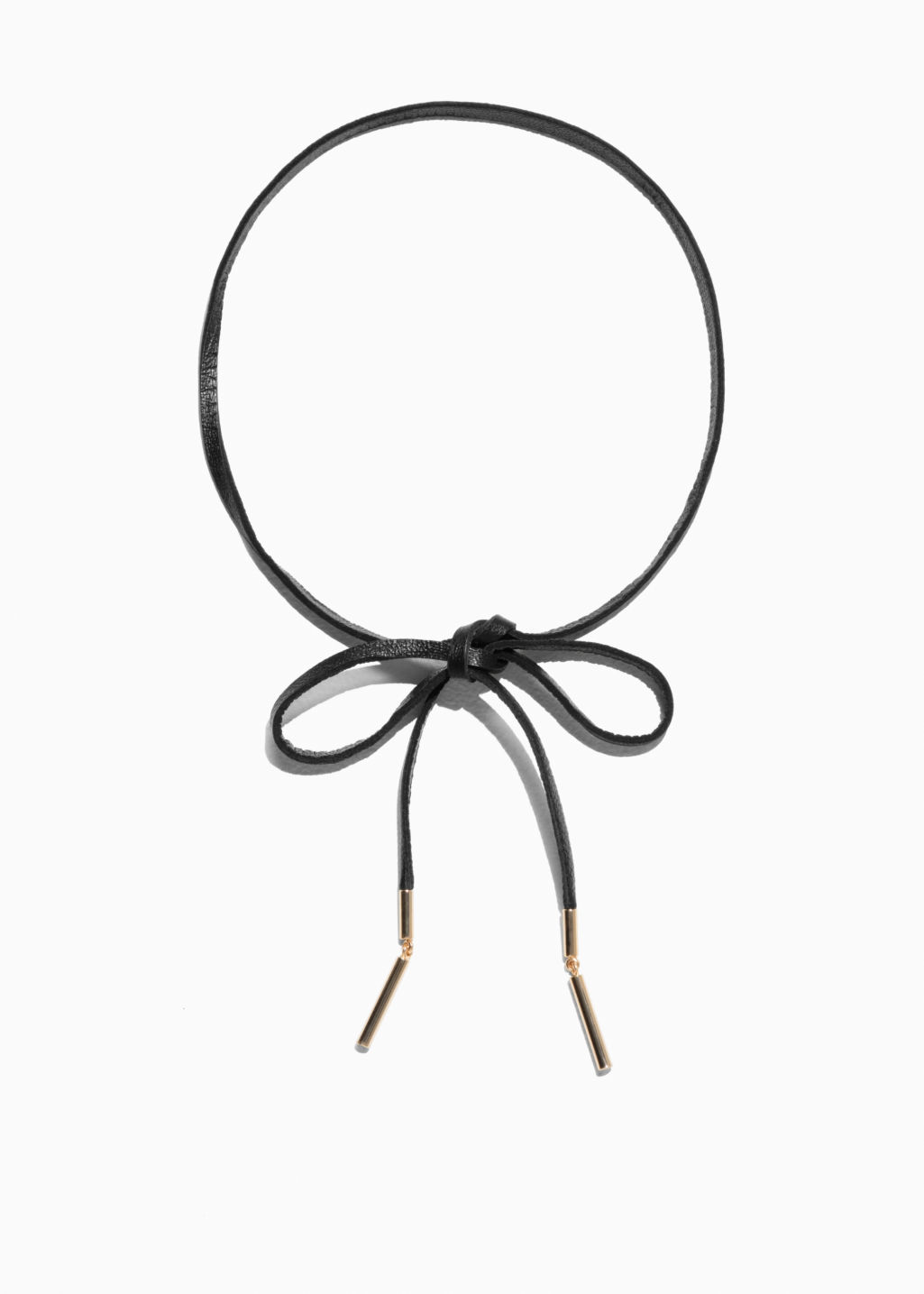 Front image of Stories leather tie necklace in black