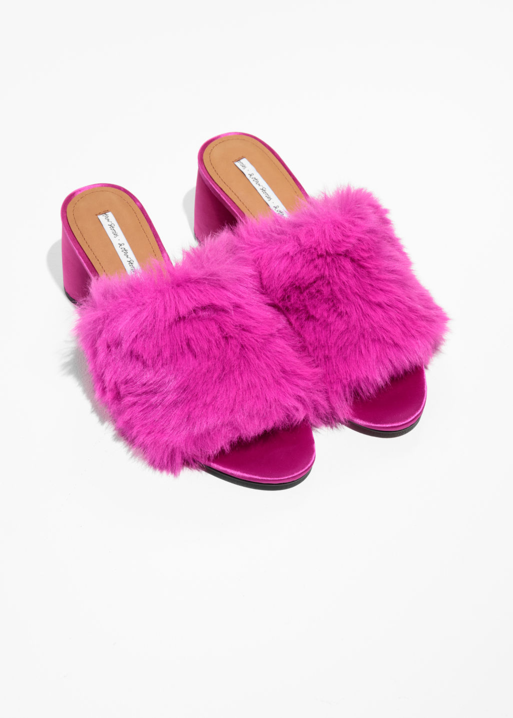 Back image of Stories faux fur mule sandalettes in pink