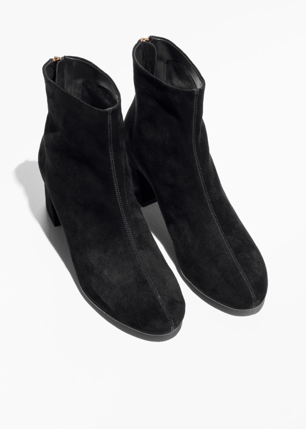 Back image of Stories flare heel suede boots in black
