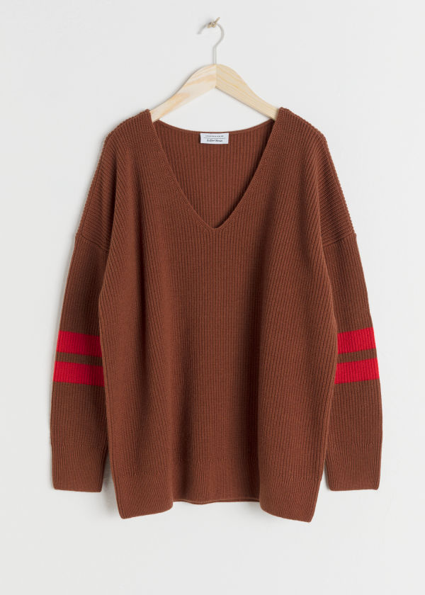 Front image of Stories stripe sleeve sweater in brown