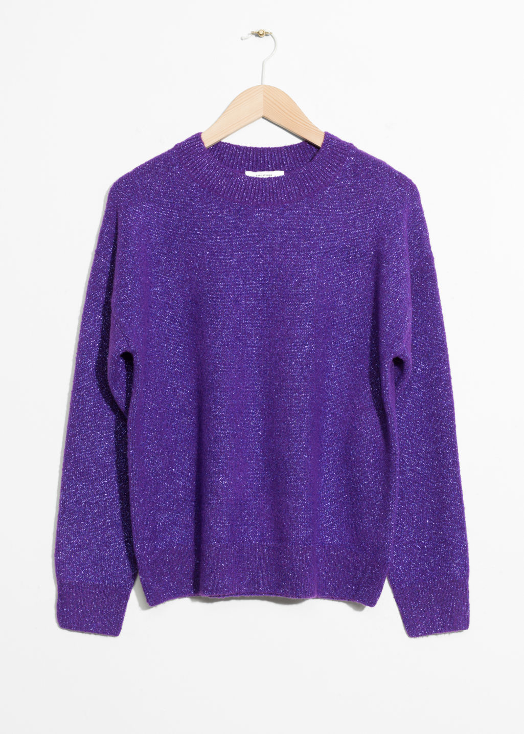 Front image of Stories sparkling sweater in purple