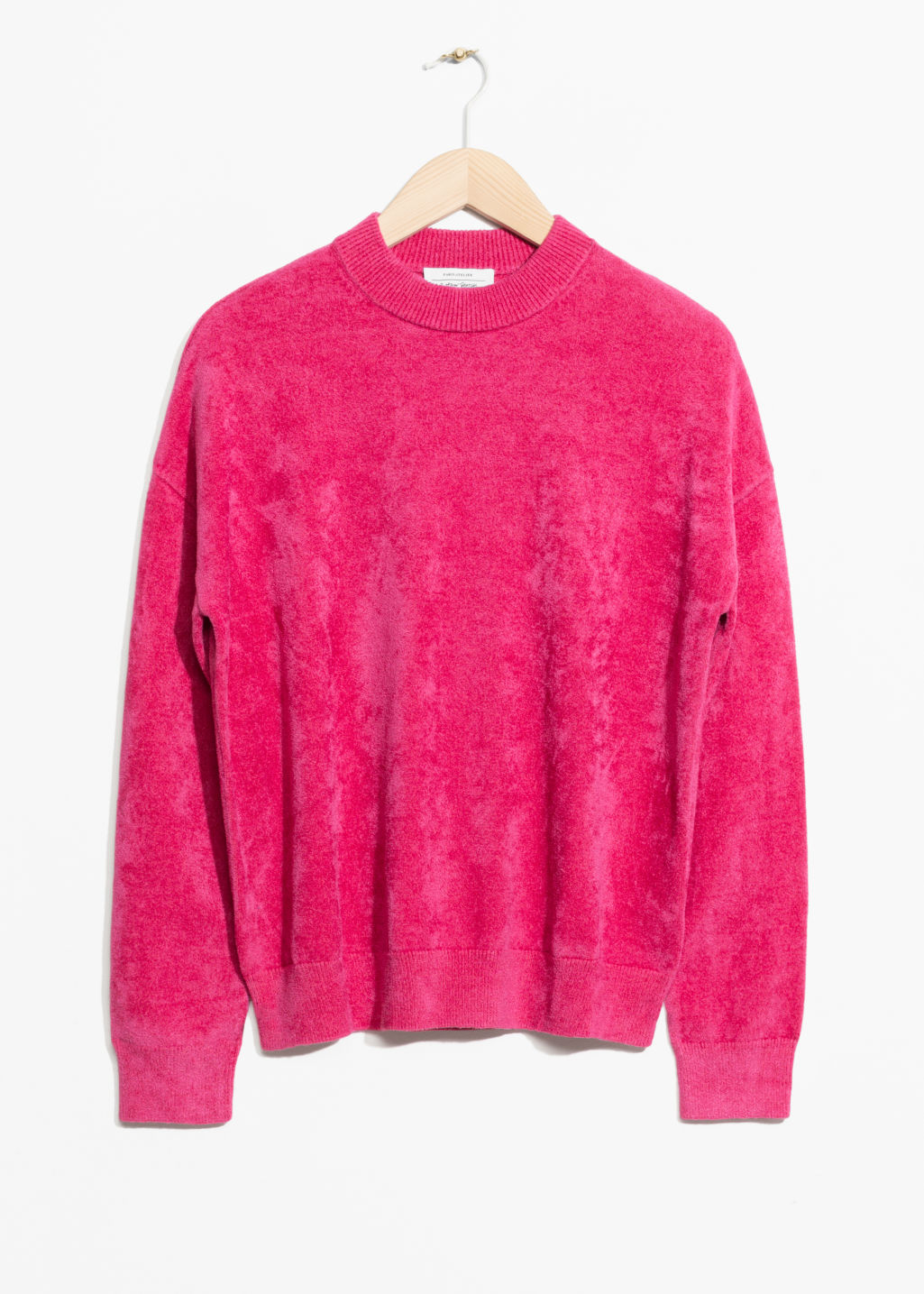 Front image of Stories chenille sweater in pink
