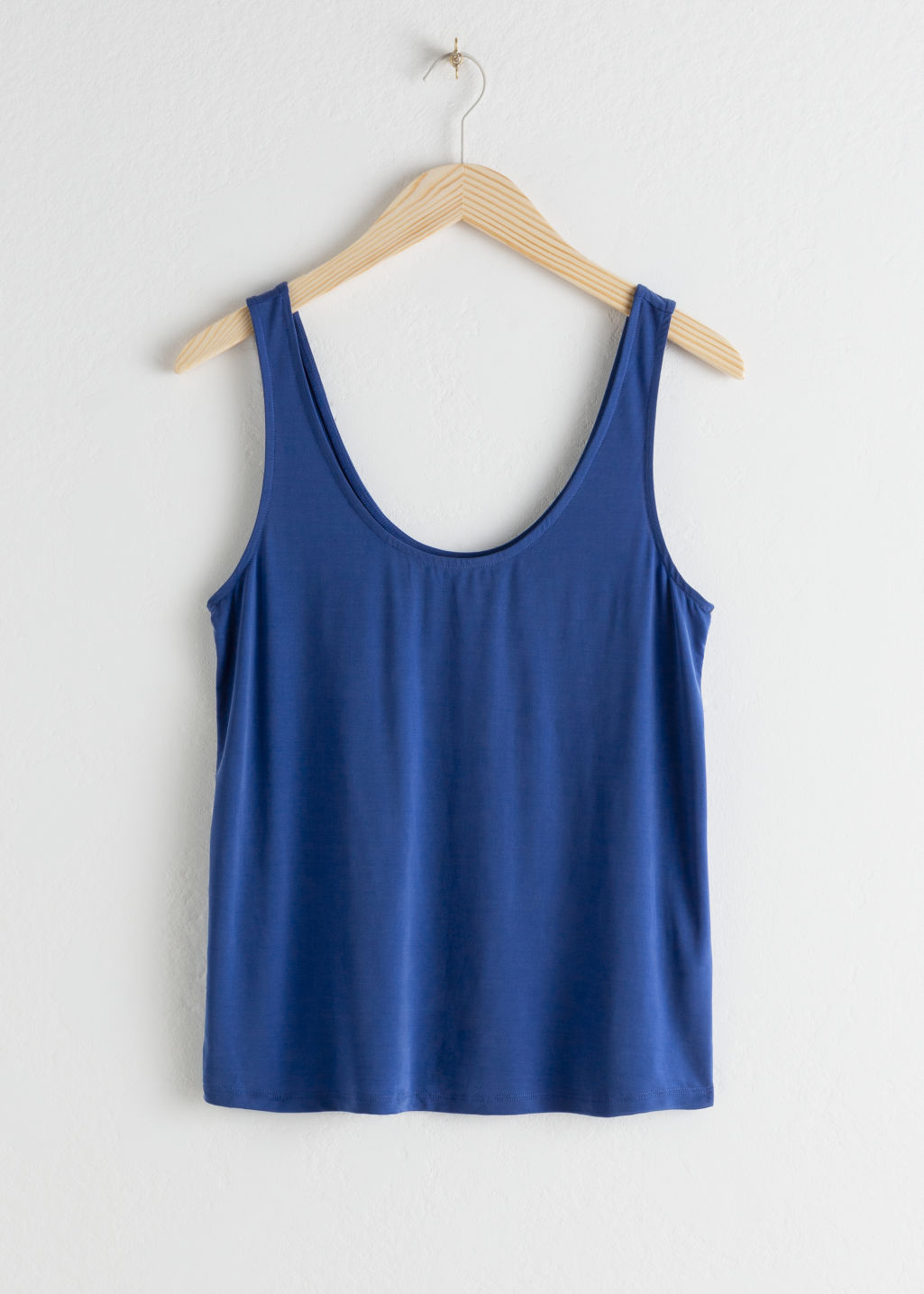 Front image of Stories cupro tank top in blue