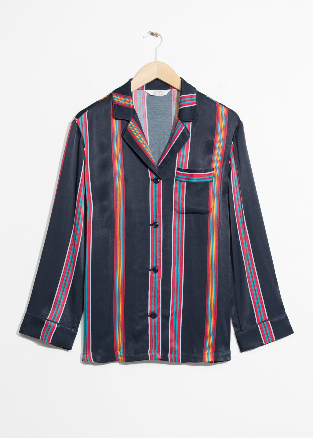 Front image of Stories stripe shirt in blue