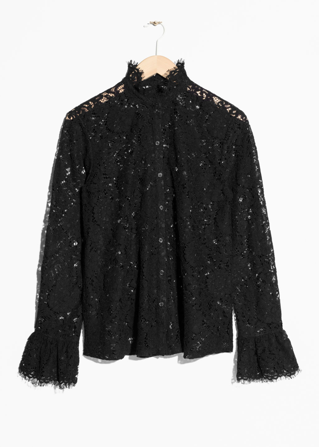 Front image of Stories lace blouse in black