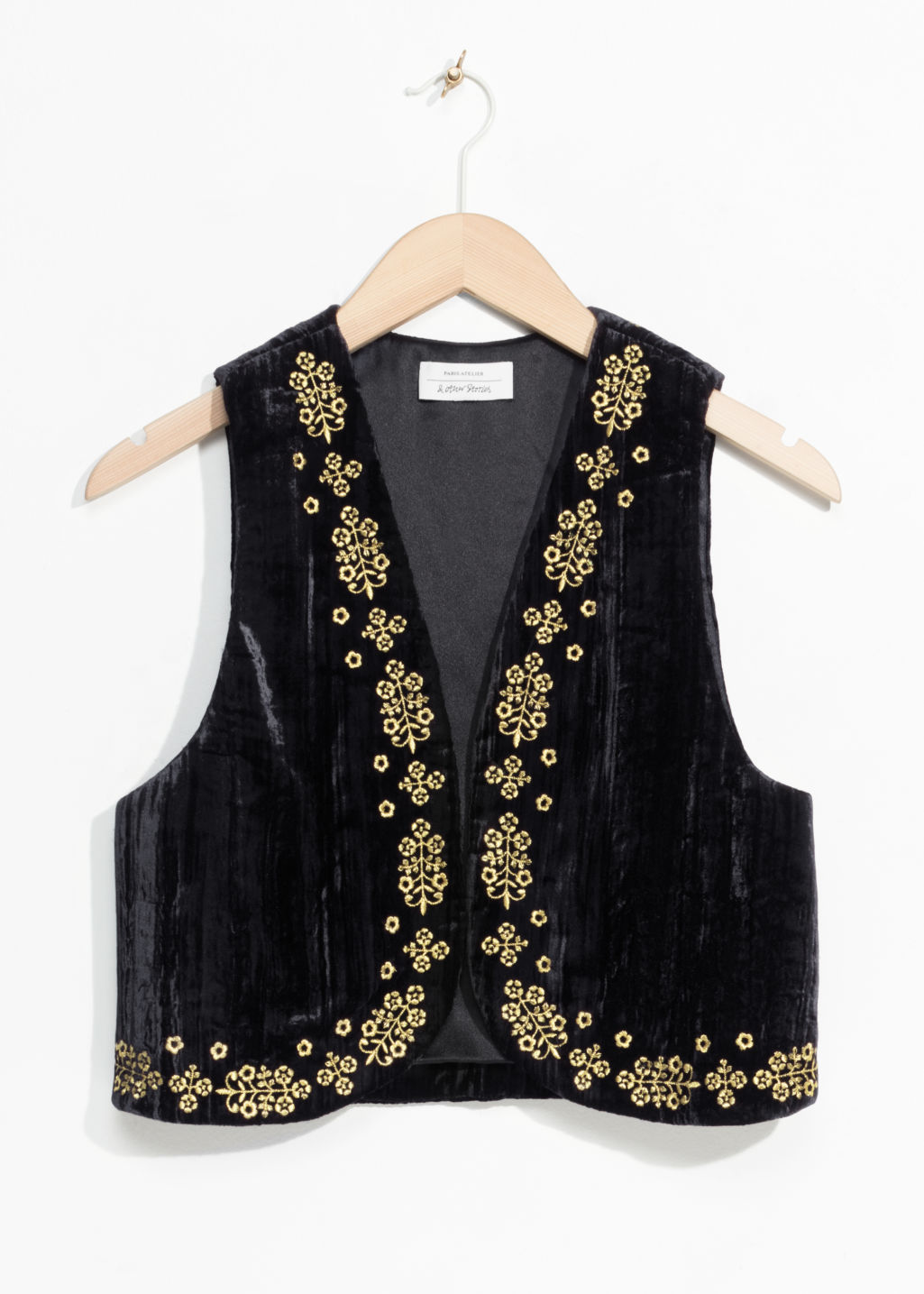 Front image of Stories velveteen vest in black
