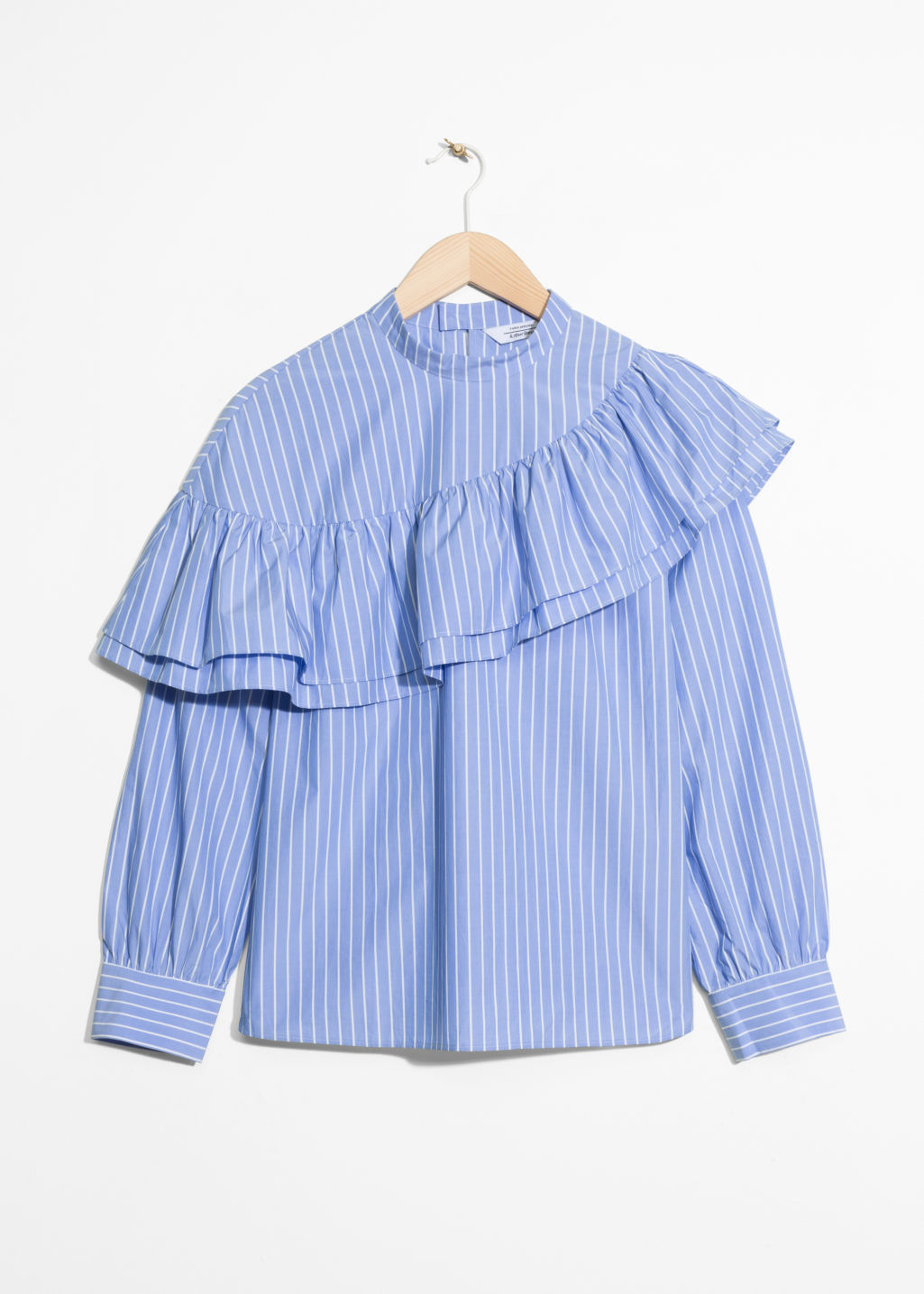 Front image of Stories striped cotton shirt in blue