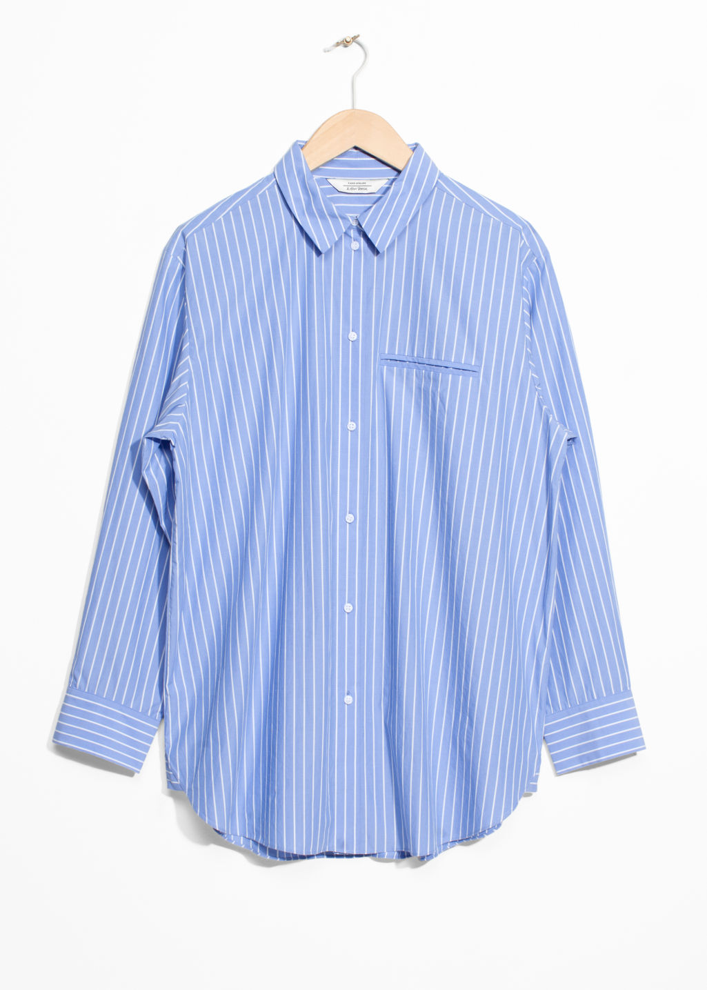 Front image of Stories stripe cotton shirt in blue