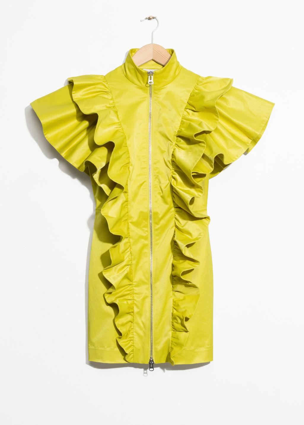 Front image of Stories frill mini dress in yellow