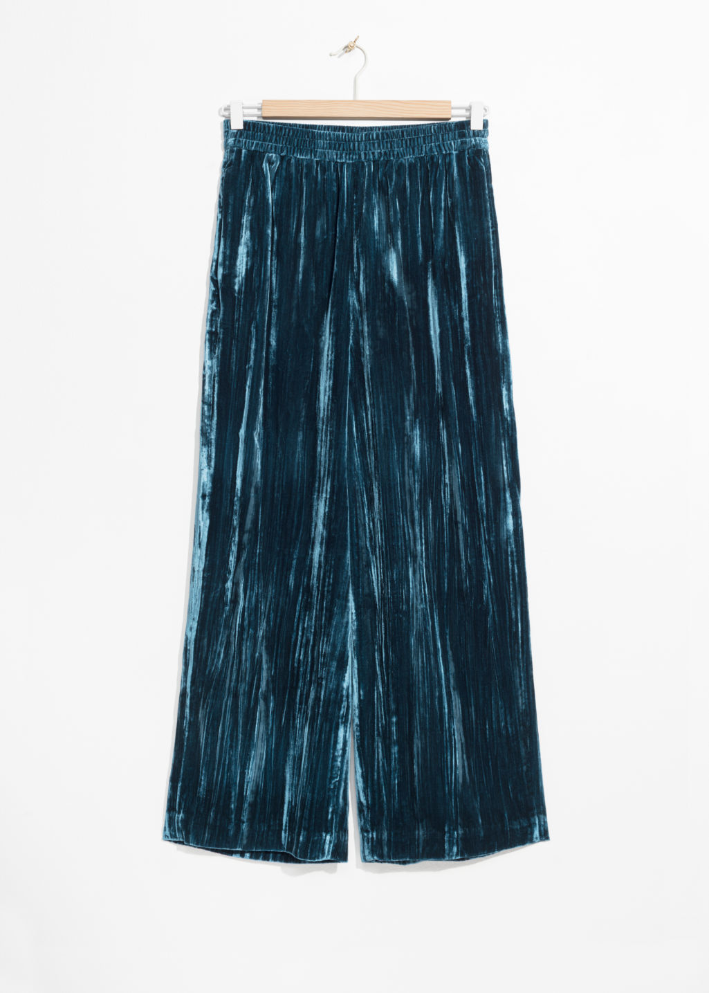 Front image of Stories wide velvet trousers in blue