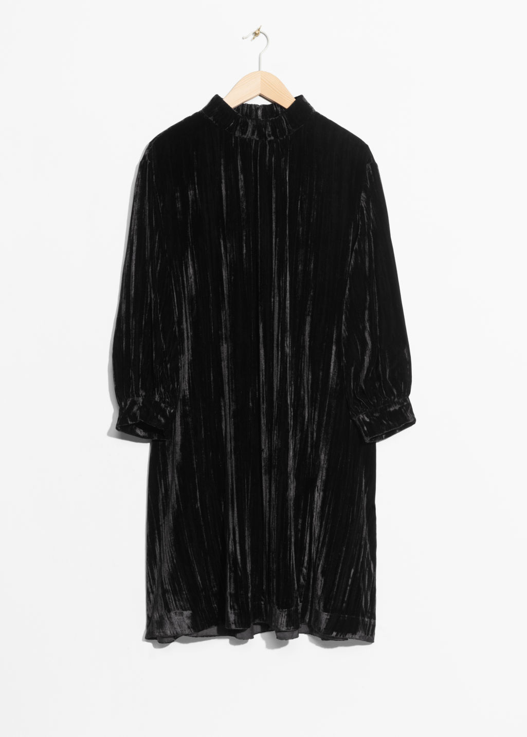 Front image of Stories wrinkly velvet dress in black