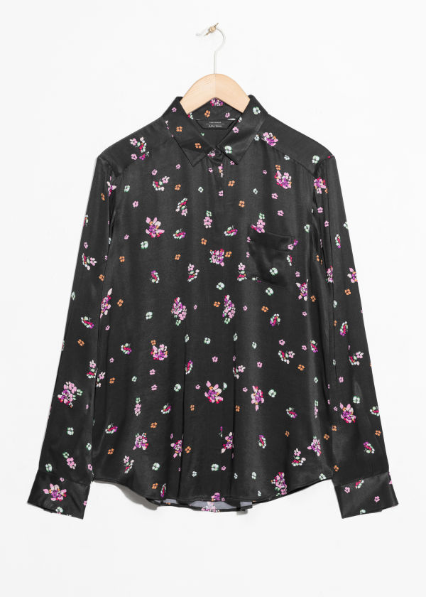 Front image of Stories petit flower shirt in black