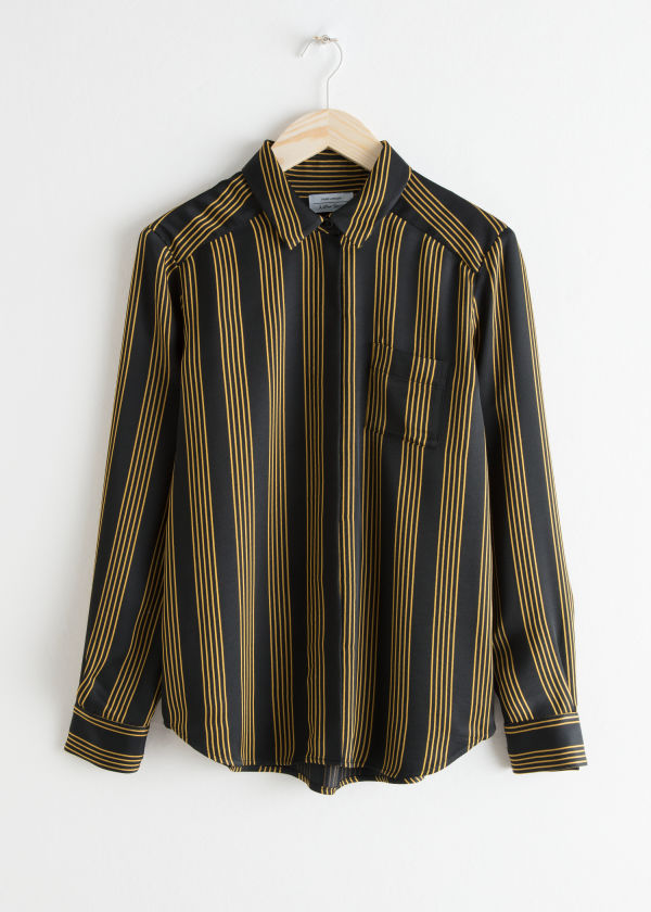 Front image of Stories printed button down shirt in black