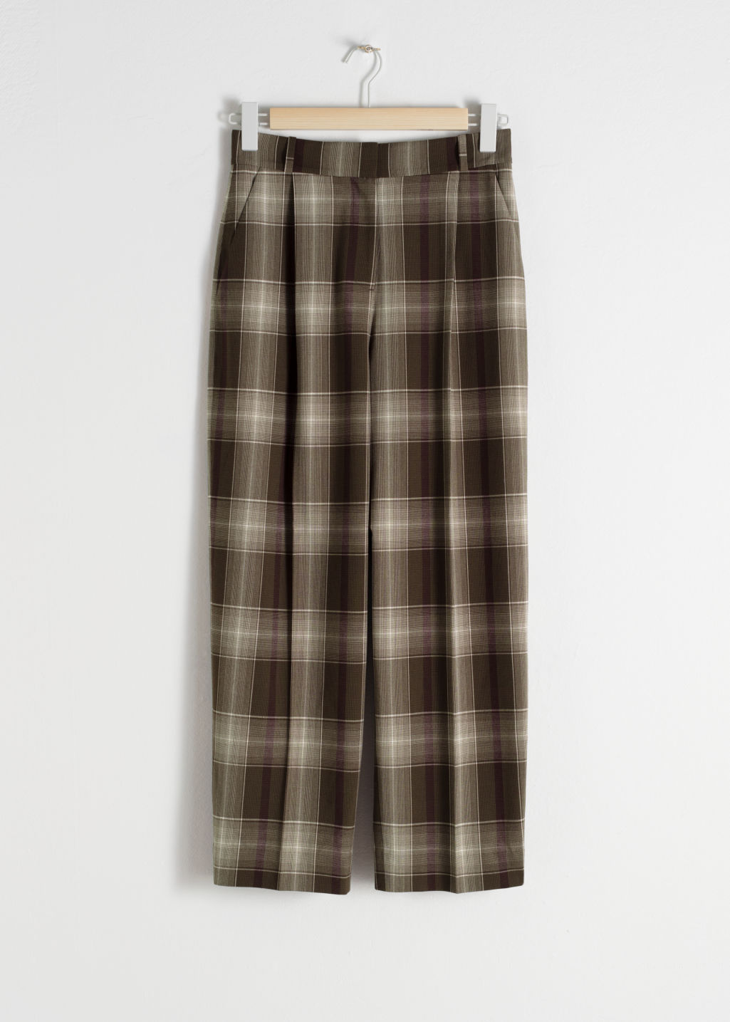 Front image of Stories tailored straight trousers in brown