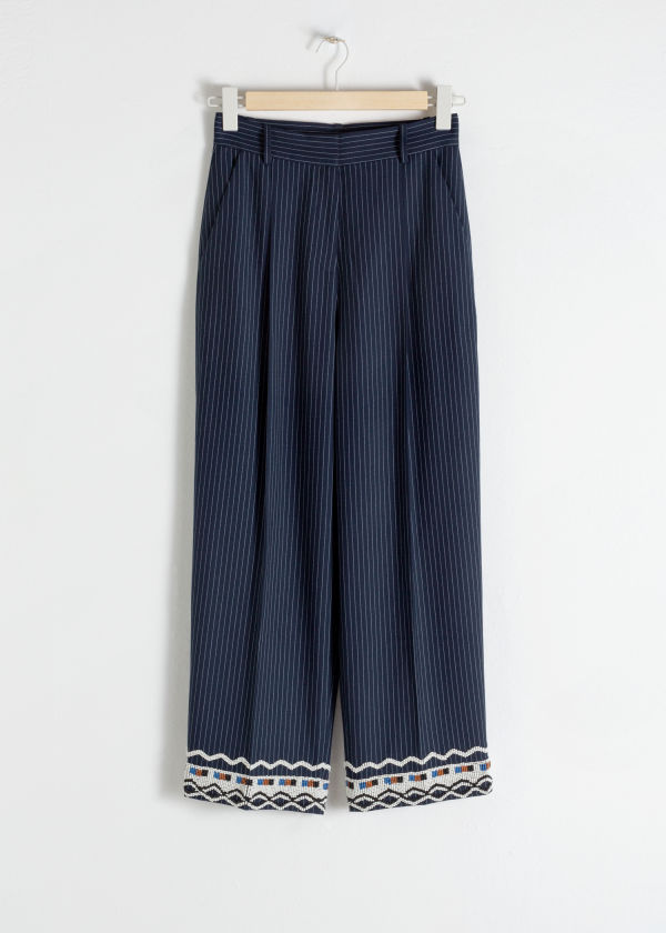 Front image of Stories tailored straight trousers in blue