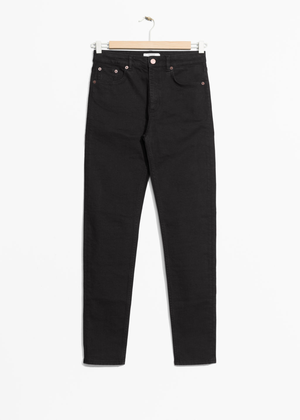 Front image of Stories slim-fit denim jeans in black