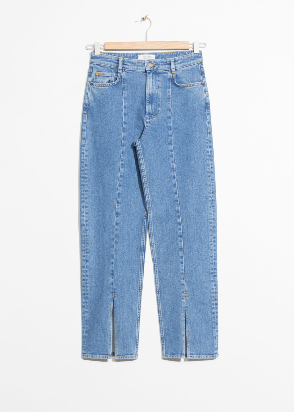 Front image of Stories front slit cropped denim in blue