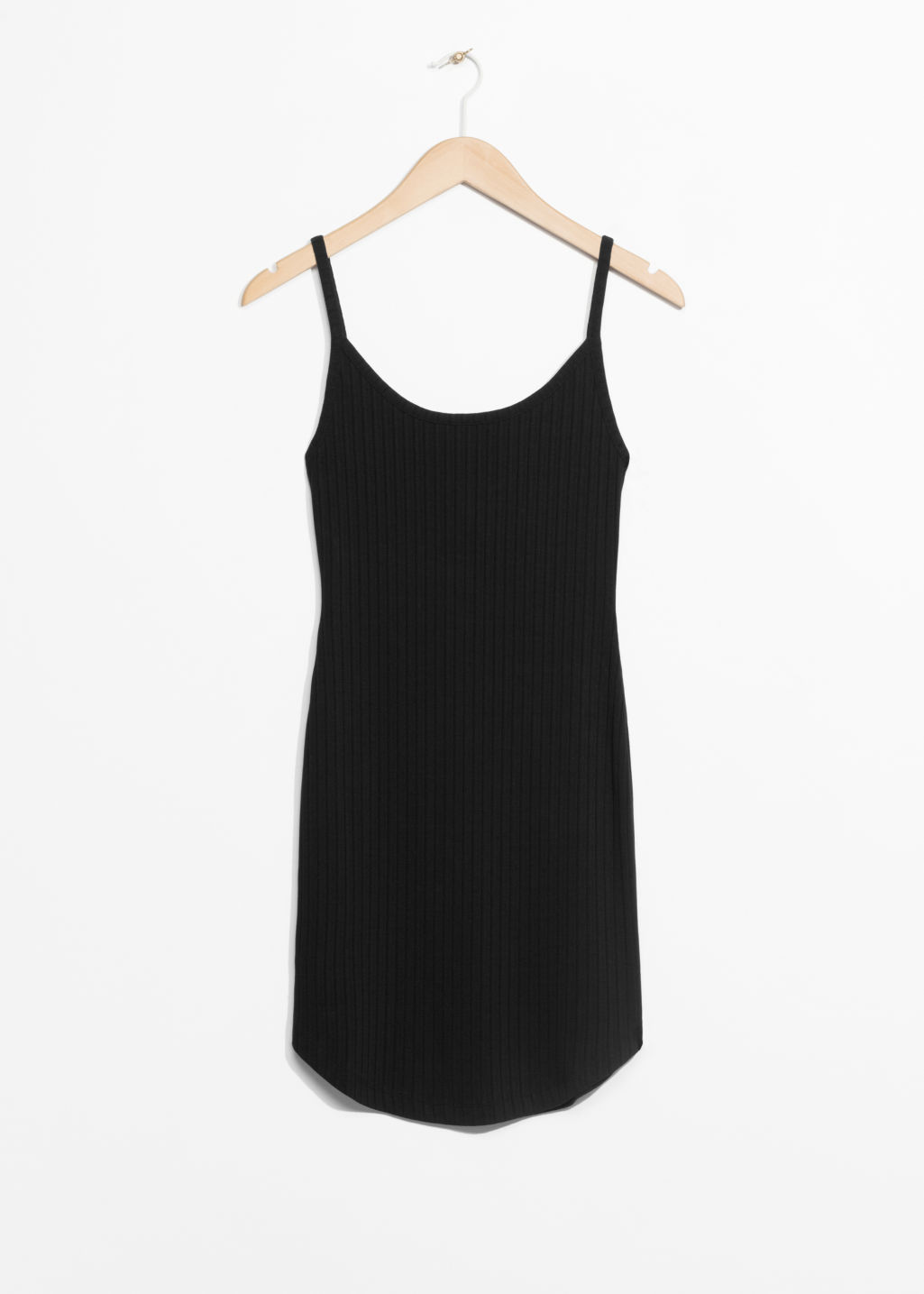 Front image of Stories ribbed dress in black