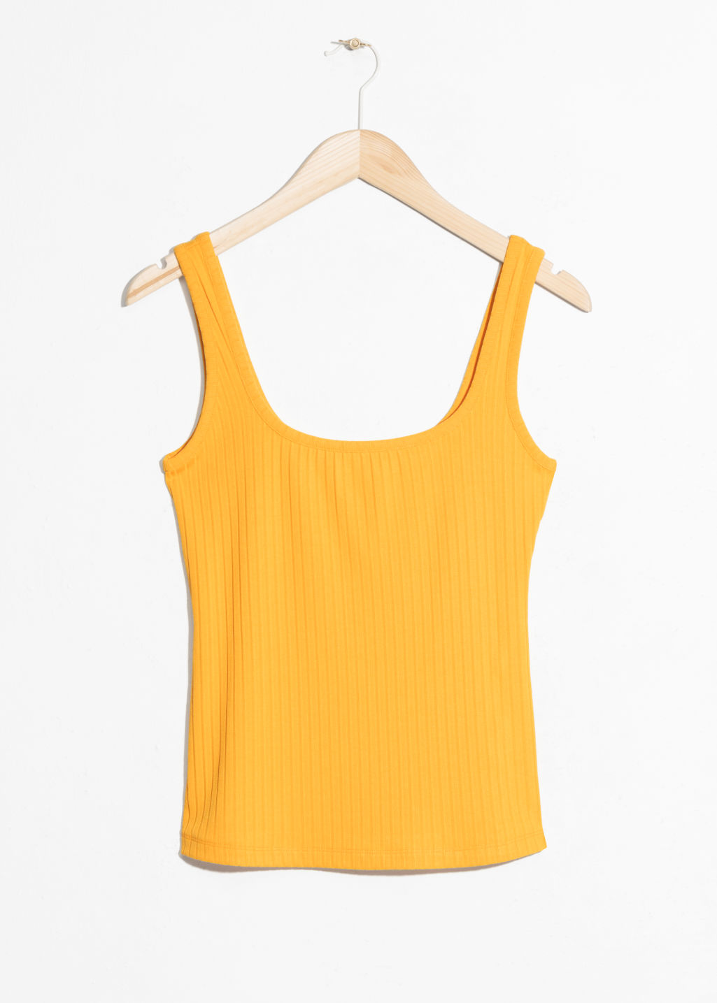 Front image of Stories ribbed tank top in yellow