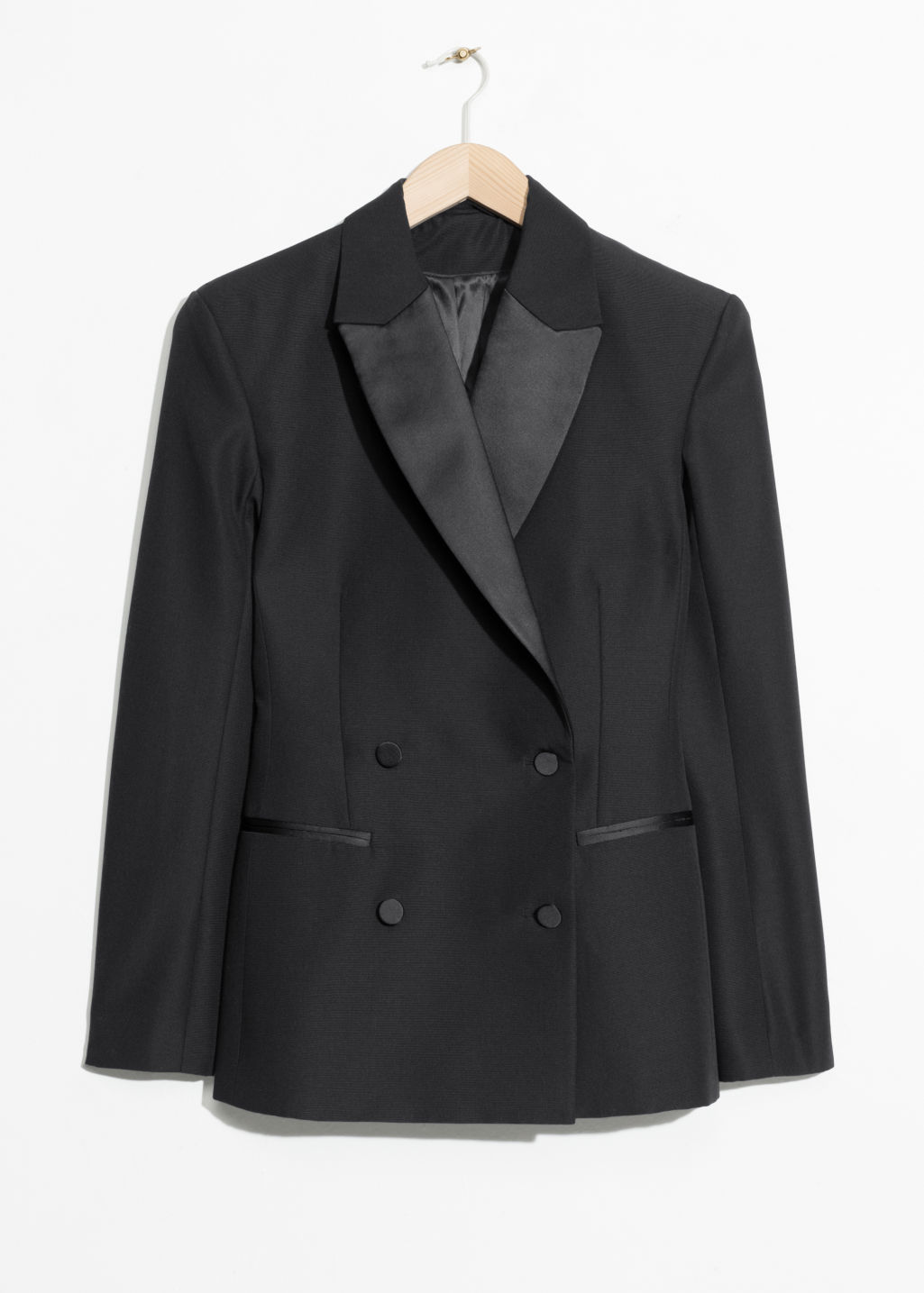 Front image of Stories wool blend blazer in black