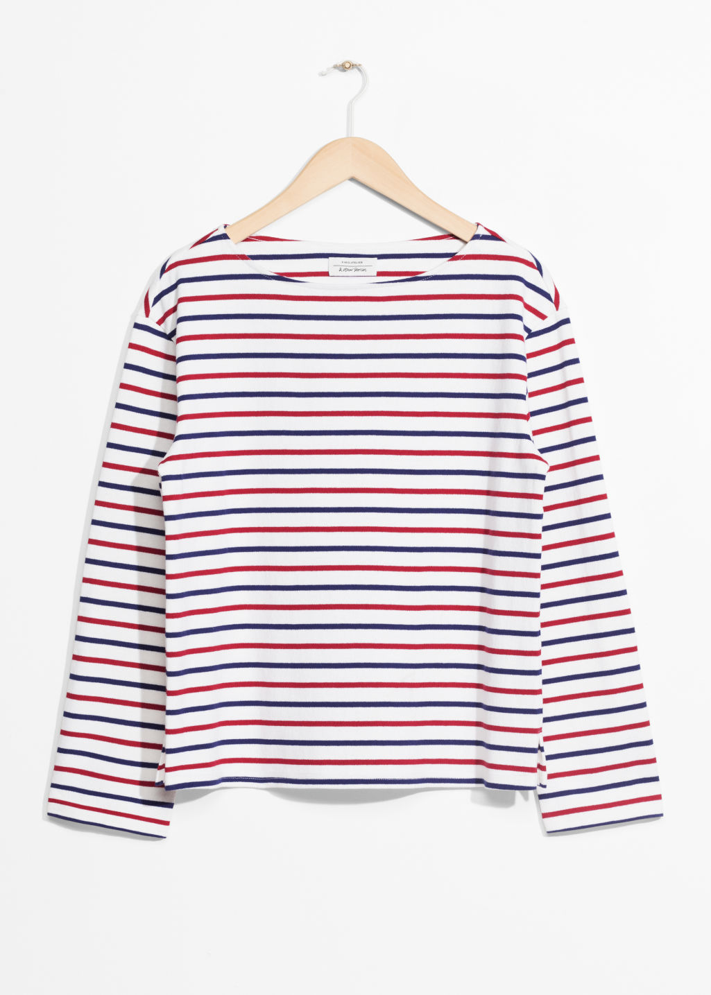 Front image of Stories stripe top in white