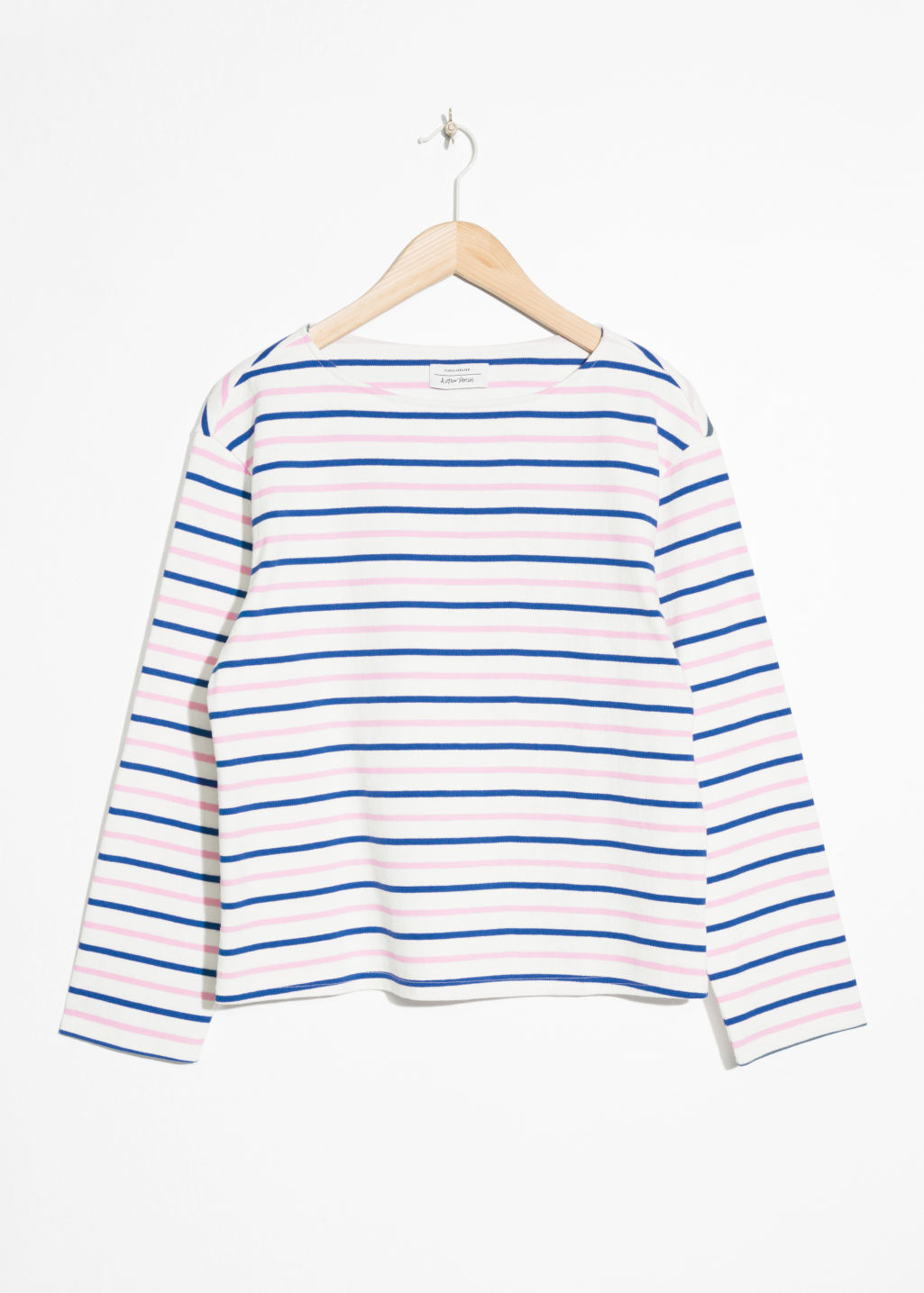Front image of Stories stripe top in pink