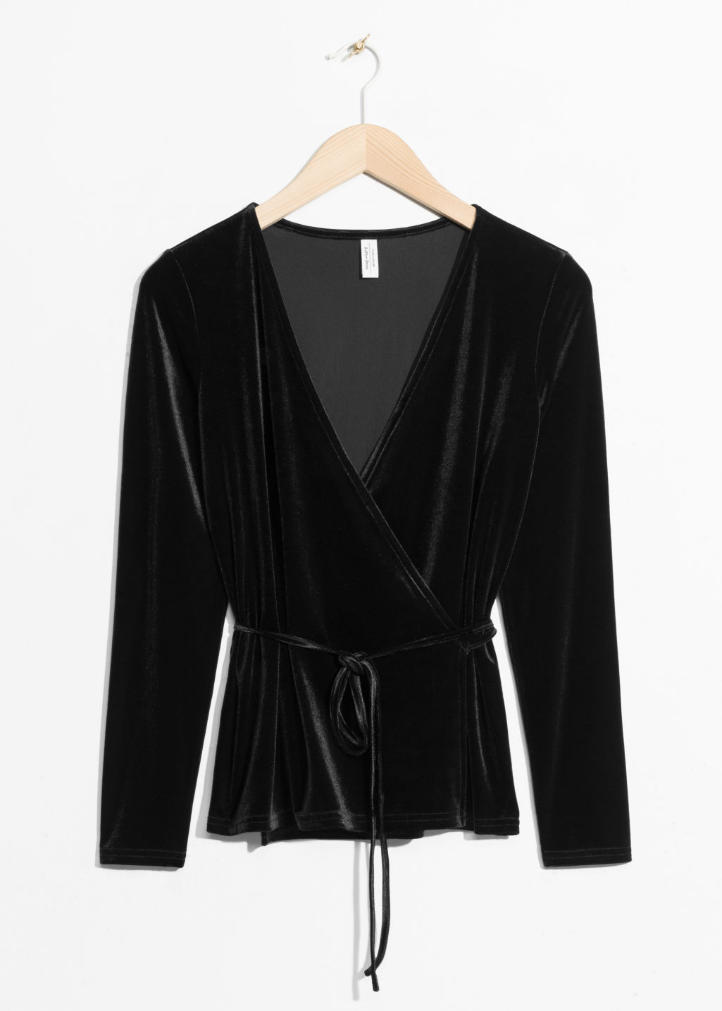 Front image of Stories velvet blouse in black
