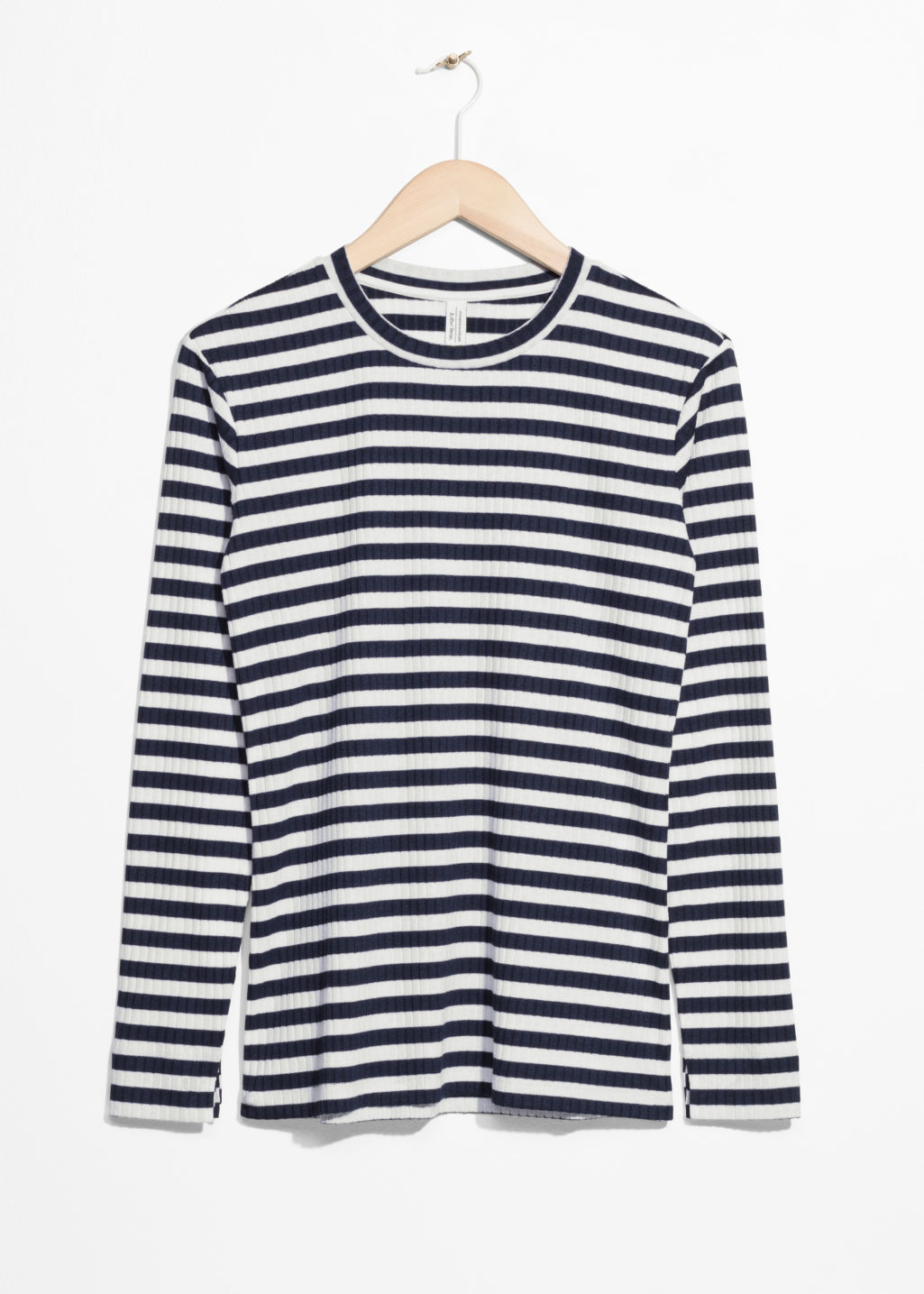 Front image of Stories ribbed stripe top in blue