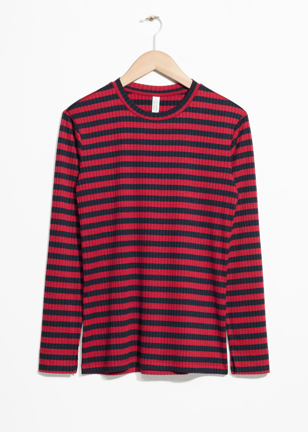 Front image of Stories ribbed stripe top in red