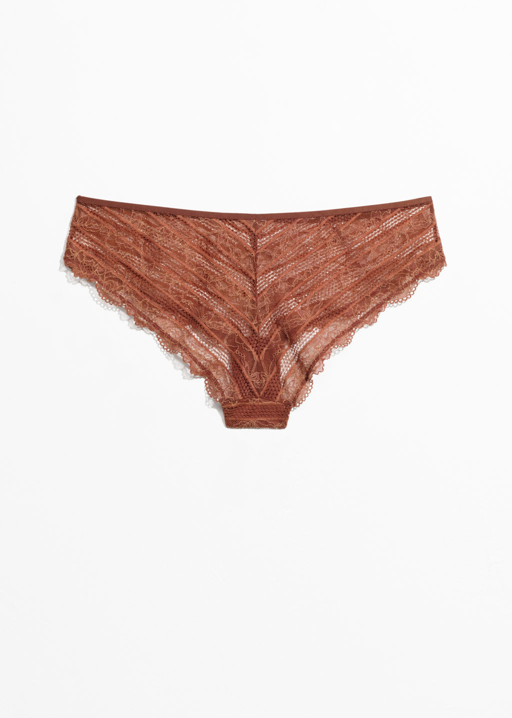 Back image of Stories lace hotpants in orange