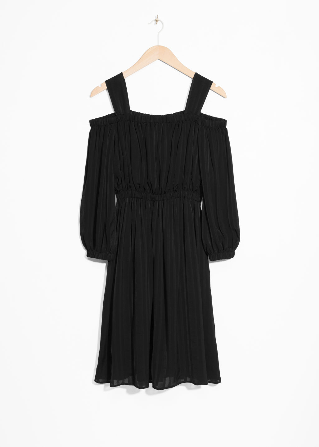 Front image of Stories cold shoulder dress in black