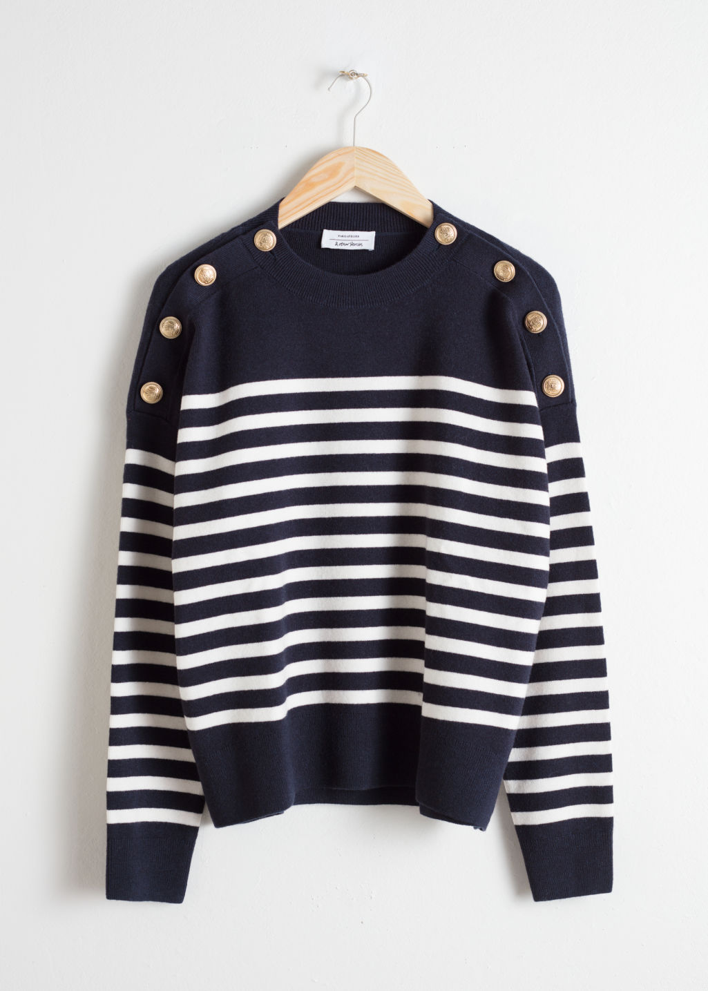 Front image of Stories stripe knit sweater in blue