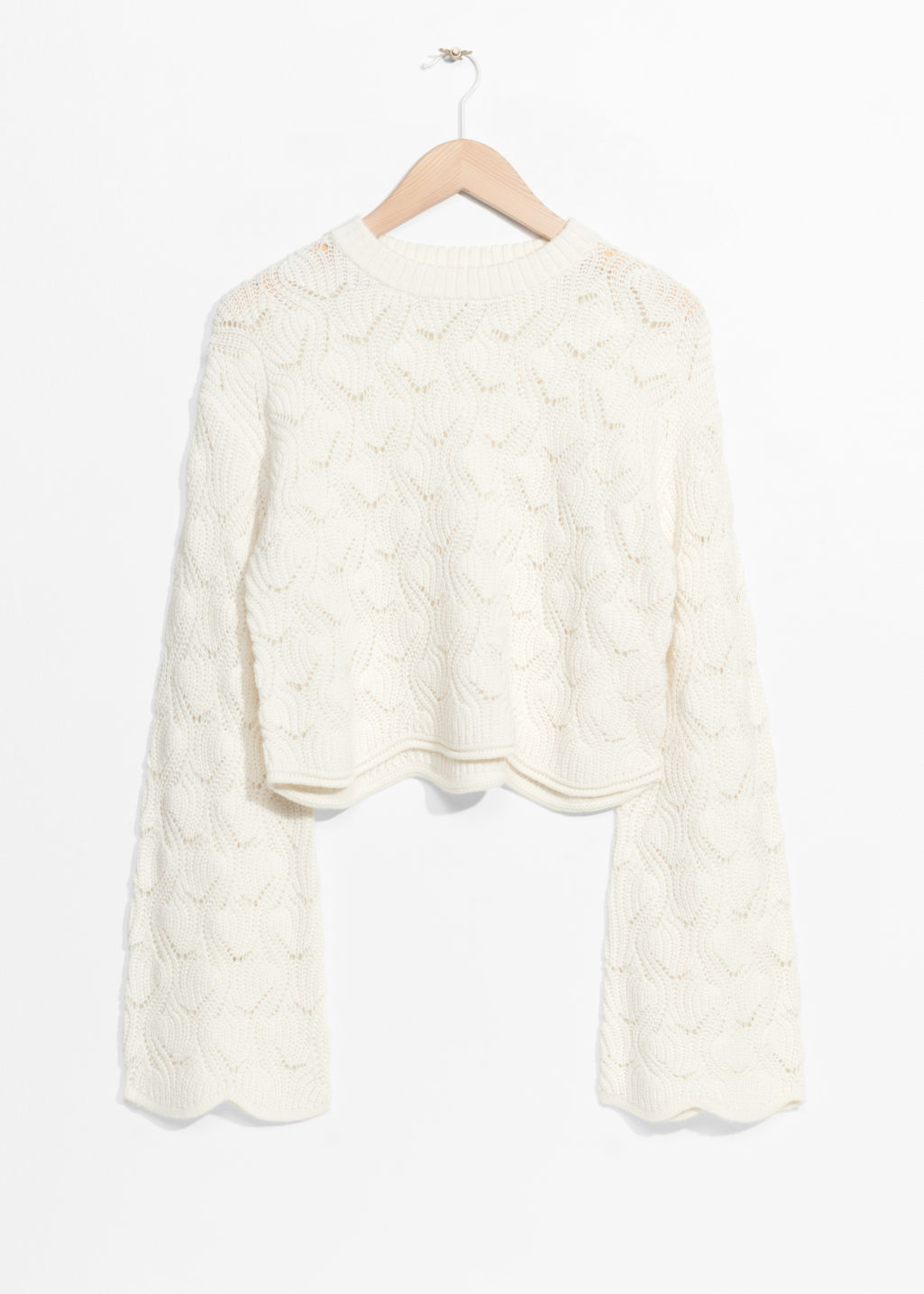Front image of Stories a-line sleeve sweater in white