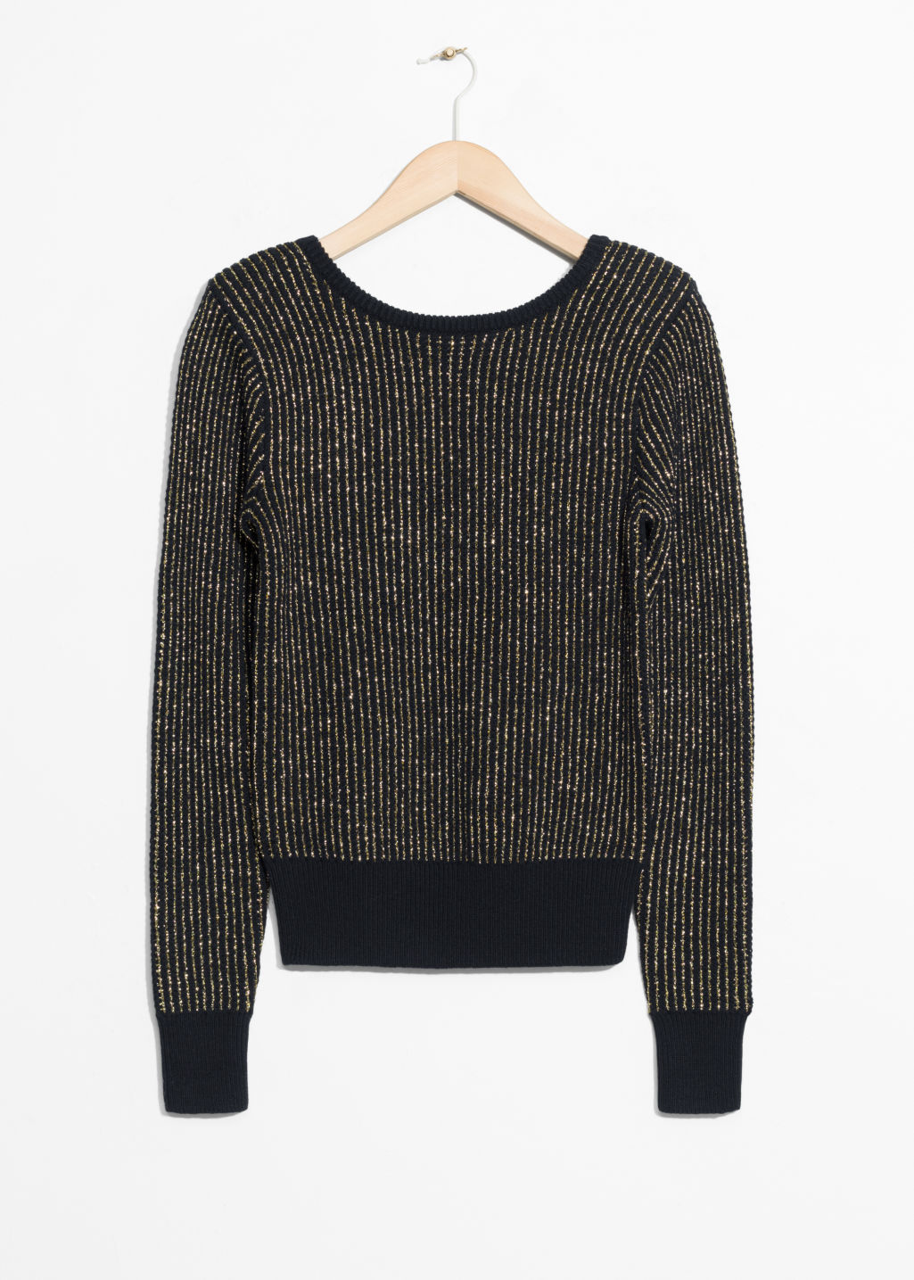 Front image of Stories v-cut back sweater in black