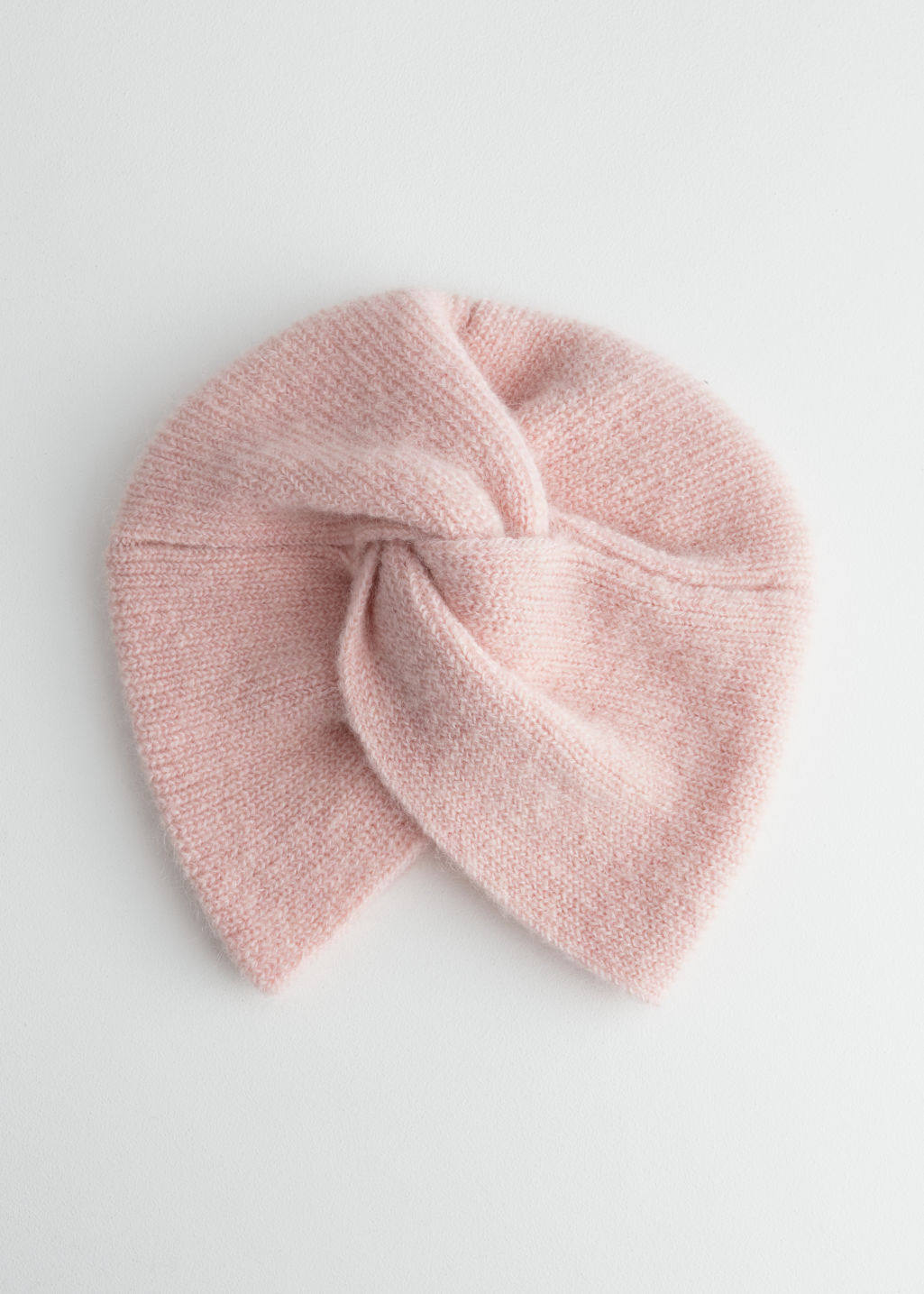 Front image of Stories twist beanie in mohair blend in pink