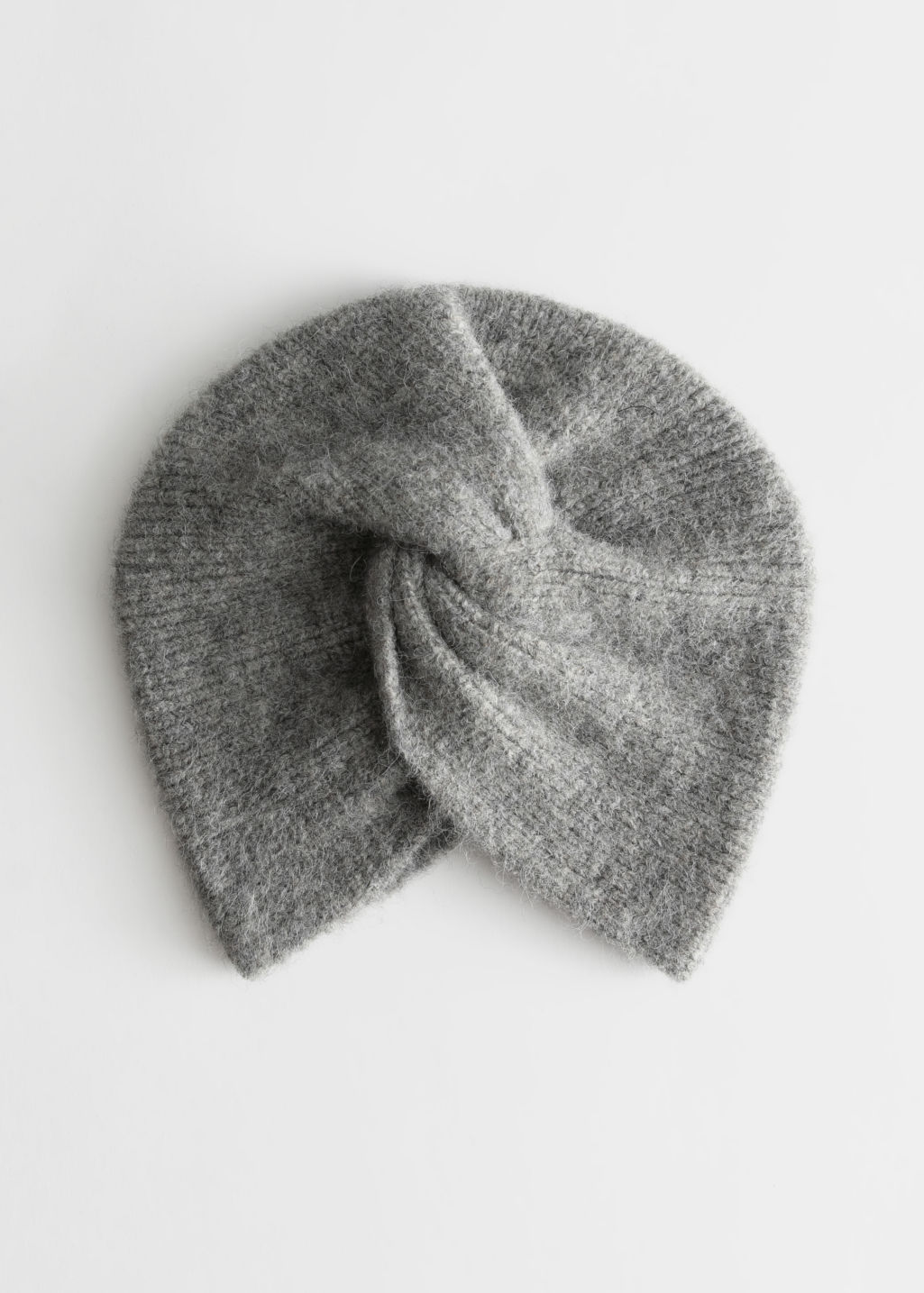 Front image of Stories twist beanie in grey
